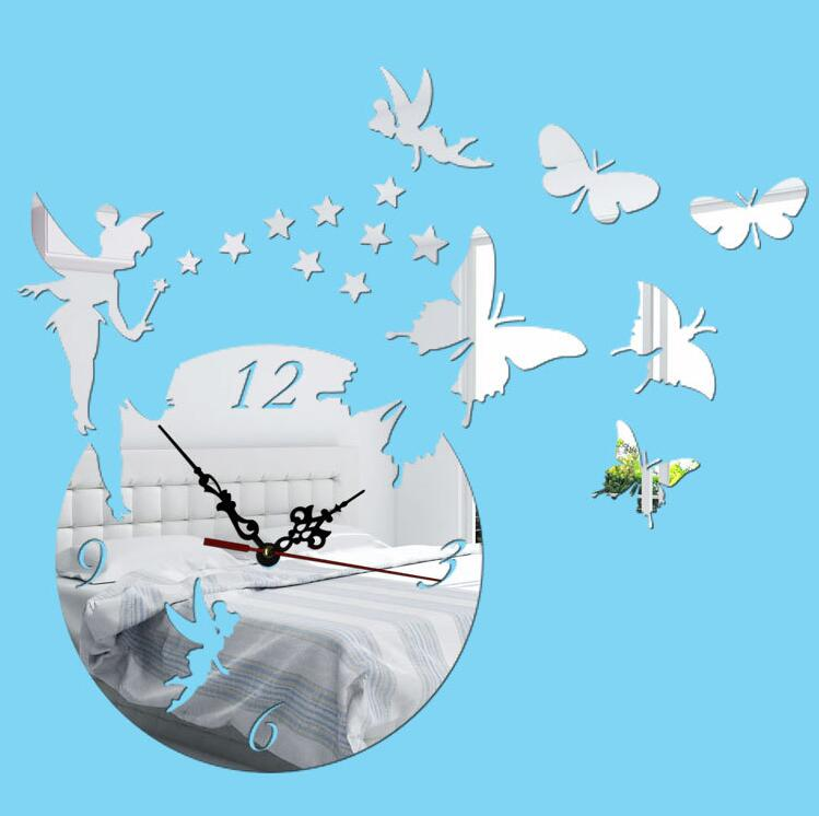 2016 New Wall Stickers Home Decor Poster Diy Europe Acrylic Large 3d Sticker Still Life Wall Clock Horse Butterfly Free Shipping