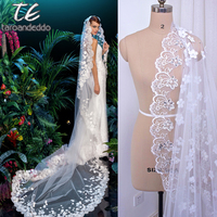 3D Flowers Lace Applique with Silver Beading Ivory 3M Long Wedding Veil with Comb Long Bridal Head Veil Accessories