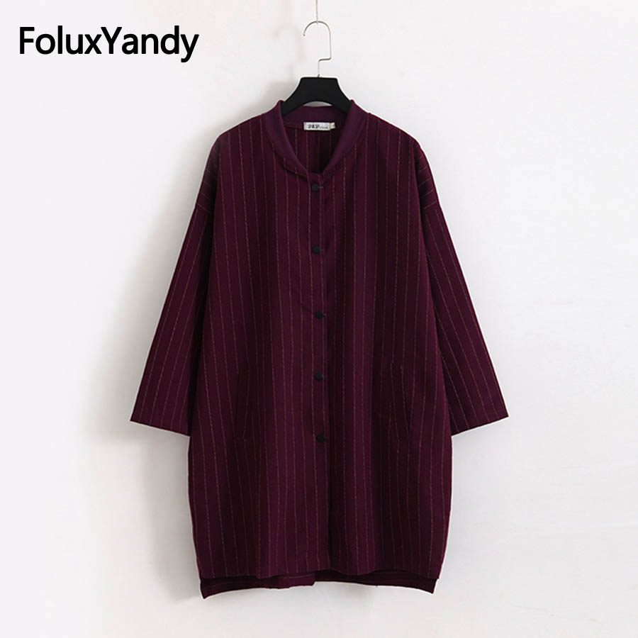 Brand New Autumn   Trench   Women Long Coats Casual Single Breasted Loose Striped Long   Trench   Outerwear Plus Size 3XL KKFY2254oil