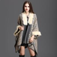 Women Knitted cloak coat 2019 Autumn Winter Cape Coat Faux Fox fur collar Leopard print Loose Shawls Cloak Cardigan Europe w656