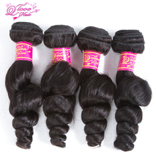 Queen Love Hair Peruvian  Loose Wave Hair Weave Bundles Loose Human Hair Extensions Bundles Remy Hair 4 Pcs
