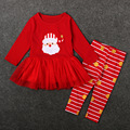 Hot sell kids Baby Clothing red Christmas Santa Claus colth bow long sleeve Baby Girls Clothes Children lace Girls Dresses T1015