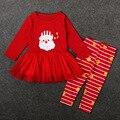 Venda quente crianças Roupas de Bebê vermelho Do Natal de Papai Noel colth arco de manga longa Meninas Do Bebê Roupas Crianças Meninas Vestidos de renda T1015