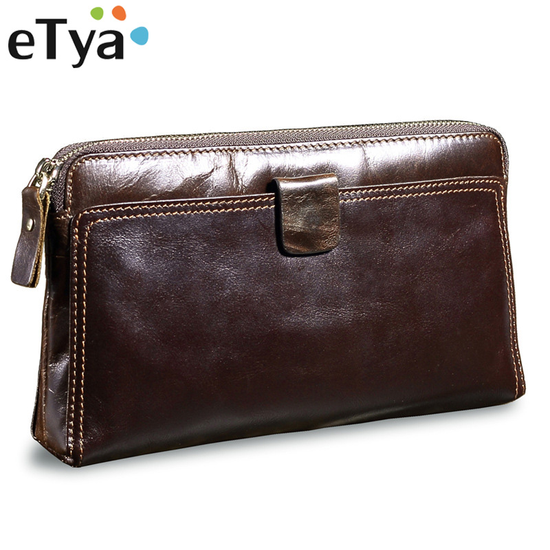 eTya Genuine Cow Leather Men Wallets Male Business Credit Card Holder Passport Wallet Men Long Clutch with Coin Purse Pocket etya genuine cow leather men wallets