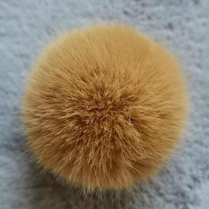 Chaveiro redondo da bola da pele do coelho do falso de nianfox 1 pc 3 especificações pequeno (5 6 6 cm) médio (6 7 7 cm) grande (7 8 8 cm) pingente dos ornamentos de diy