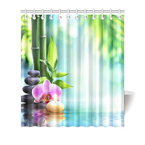 Garden Spa Decor Shower Curtain Zen Stones Aromatic Candle Orchids Blooms On The Water Treatment Vacation Bathroom Accessories In Curtains From Home
