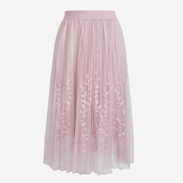 Floral Embroidery A-line Tutu Lace Mesh Skirt Women Elegant Tulle Long Pleated Skirt Women Midi Skirt Summer Hot Sale 6
