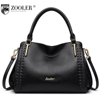 ZOOLER Brand 100 Genuine Leather Bags Handbags Women Famous Brands Designers Tote Work Bag Casual Soild