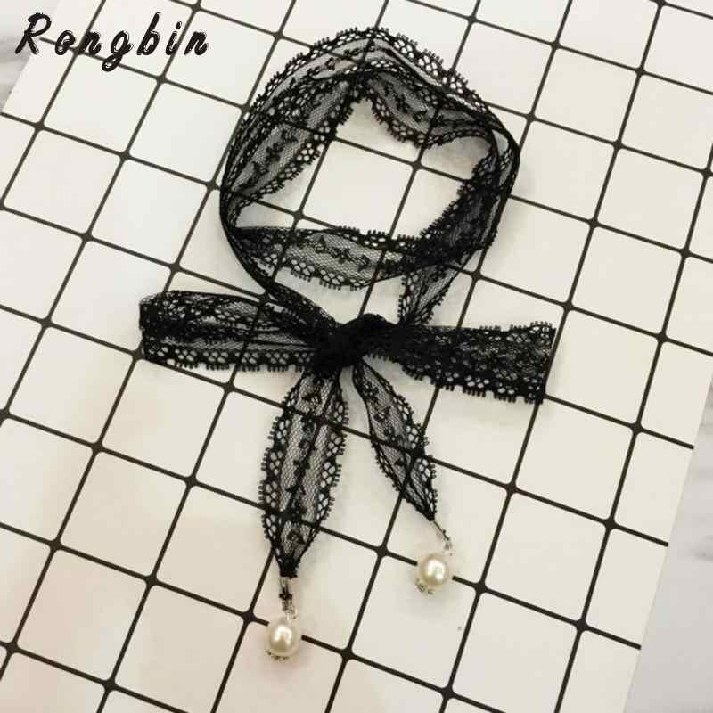 2019 ยาวสีดำลูกไม้ Choker สร้อยคอสำหรับผู้หญิง Pearl Choker Gothic collar Bijoux collier femme Collares Mujer