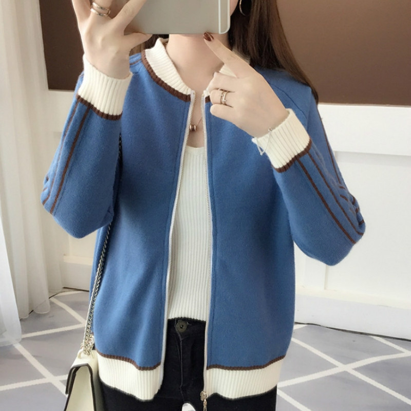 Spring Outerwear Women's Wear New Round-Collar Women's Knitted Sweater Card Baseball Sweater Spring And Autumn Blouse