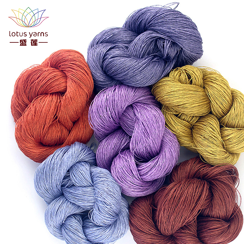 Lotus Yarns Linen 100 Yarn Natural Linen Hand Knitting Colored DIY Crochet