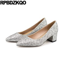 e2746eb98f14 Low Heels Bridal Pointed Toe Bling Rose Gold Sequin Pumps Size 33 Medium  Thick Wedding Shoes High Glitter Silver Golden Women