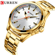 лучшая цена CURREN Gold Watches Sport Waterproof Multifunction Stainless Steel Mens Quartz Wristwatch Calendar Large Dial Clock Montre Homme