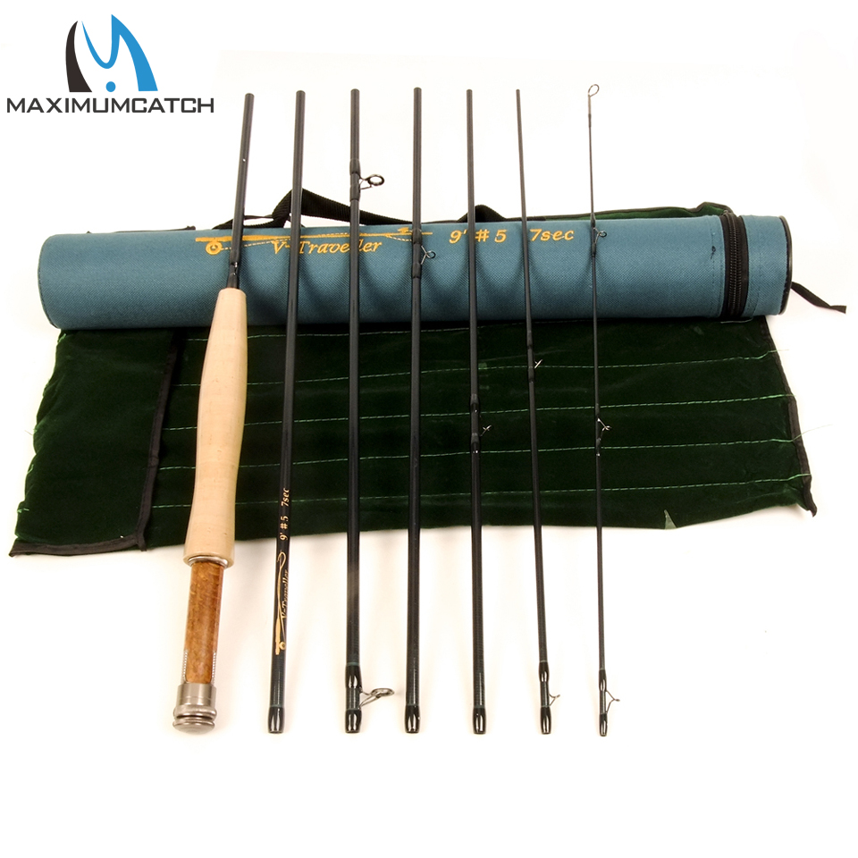Maximumcatch 5/6/7/8WT Traveller Fly Rod 9FT 7pc Fast Action with Cordura Tube Fly Fishing Rod For Travel