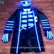 Голубой цвет LED ballroon костюм со светодиодной Прихватки для мангала Led шляпа световой певец DJ хост Костюмы свет Для мужчин Костюмы этап праздничная одежда