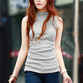 Fashion Women T Shirts Sleeveless Turtleneck Solid Cotton Tops Plus Size Summer Style Shirt Pullover 10 colors