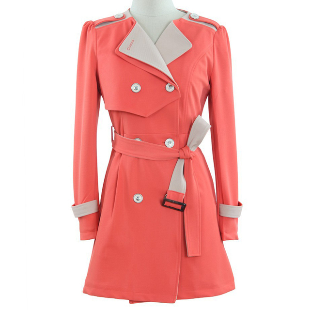Fashion New Women Trench Coat Novelty Navy Orange Double-breasted Patchwork Epaulet Belt Long Trench Coat Ladies Wind Breaker