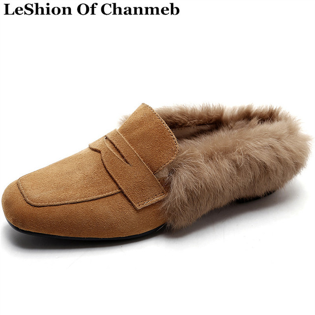Fashion Real Nubuck Leather Rabbit Fur Flats Slippers Shoes Women Fur Lined Loafers Slip on Creepers Vintage Shoes Mocassin 2017