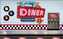 Pano de fundo do restaurante americano vintage personalizado retro de alta qualidade computador impressão festa de fundo