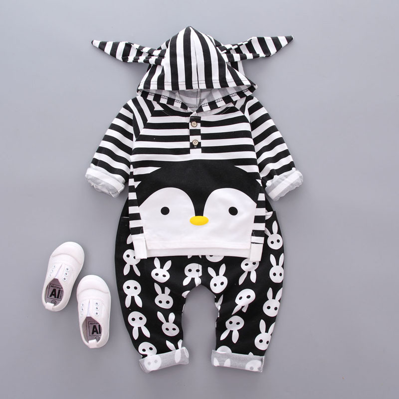 Autumn spring Baby boys Clothes Cartoon penguin striped Hoodie Tops T-shirt+Cotton Pants Suit Newborn Baby Girls Clothing Sets