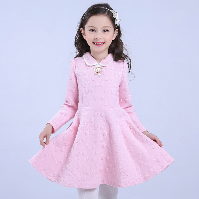 Design Children Girls Princess Dress Fashion 2016 Cotton Warm Kids Clothes Casual Long-sleeves Flower Vestido Infantis