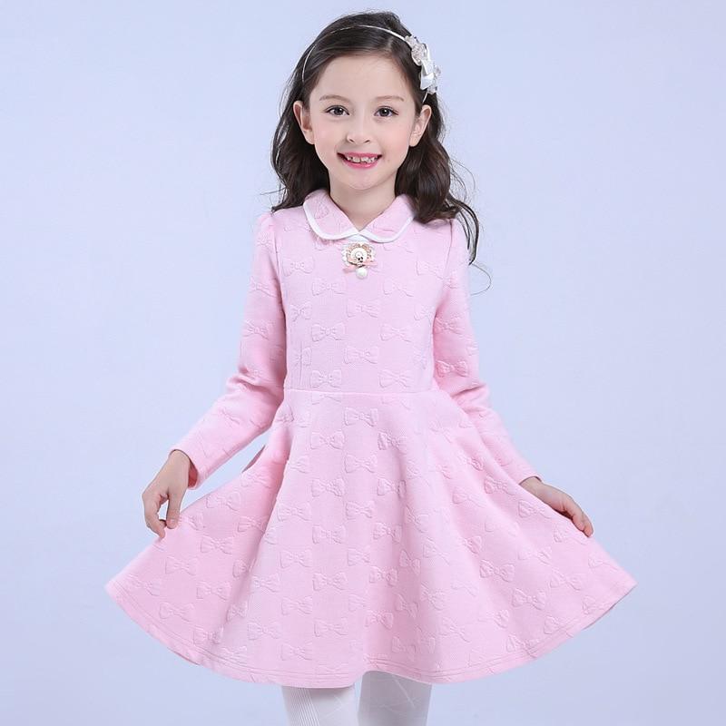 Design Children Girls Princess Dress Fashion 2016 Cotton Warm Kids Clothes Casual Long-sleeves Flower Vestido Infantis