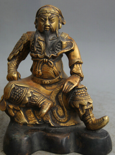 Free shipping  S0524 8 Chinese Bronze 24K Gold Gilt Seat Guan Gong Yu Warrior God knight Statue  35%
