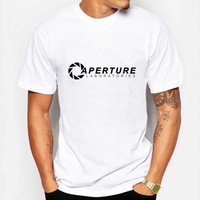 Aperture Laboratories T Shirs Men's Game Portal 2 T-shirt Clothing Shirt Cotton Short Sleeve Letter Top Tees US Size XS-3XL