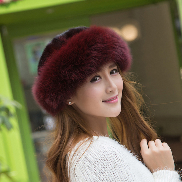 Modelos de invierno envío libre Dongkuan caliente real sombrero de piel de visón de piel de zorro sombrero de Baotou