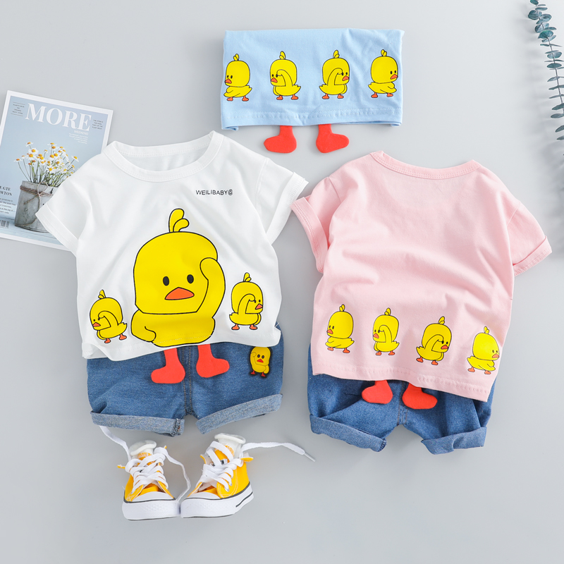 2019 Summer Baby Boys Girls Short Clothing Sets Infant Toddler Clothes Suits Duck T Shirt Shorts Kids Children Casual Suit