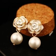 Famous Design Golden Flower Big Pearl Earring Stud Earrings For Women Trendy Jewelry