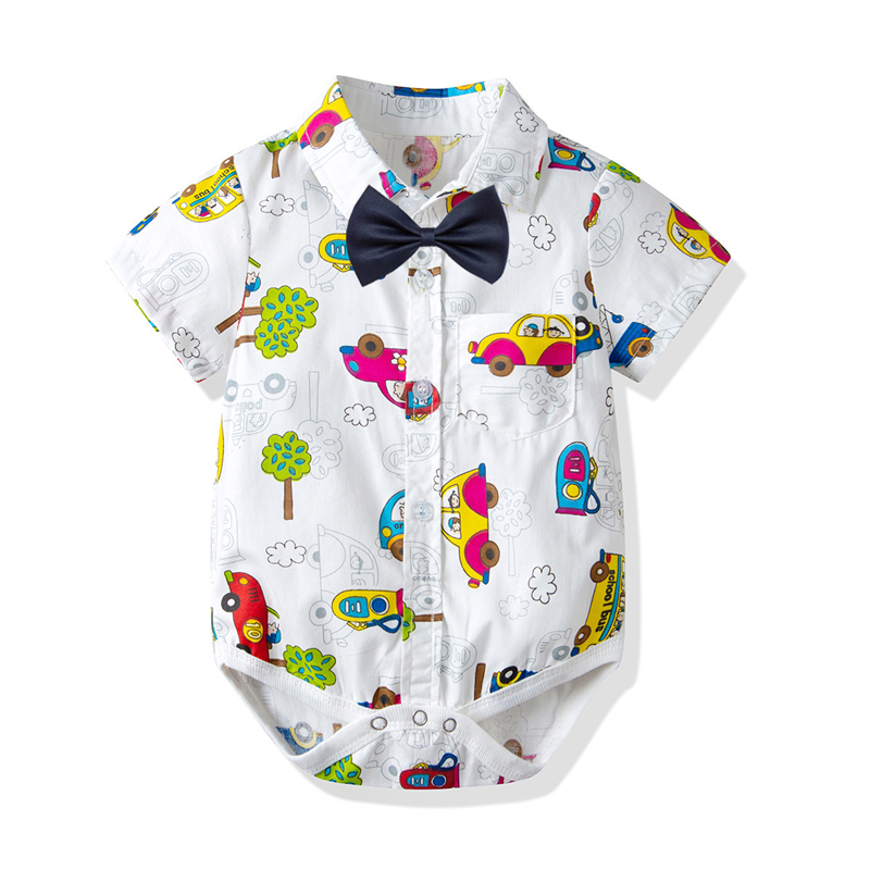 Low Price  fashion Baby Romper Car Designed Short Sleeved Jumpsuits Infant Clothing Baby Product Tie Graffiti