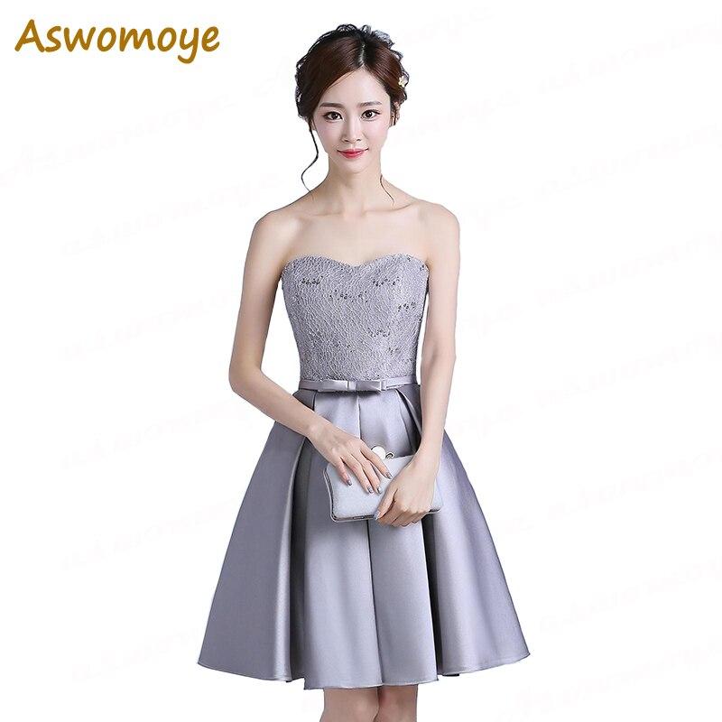 Aswomoye Элегантные Короткие Для женщин вечернее платье 2018 Стильный A-Line блестками вечерние платье со шнуровкой сзади Милая вечернее платье