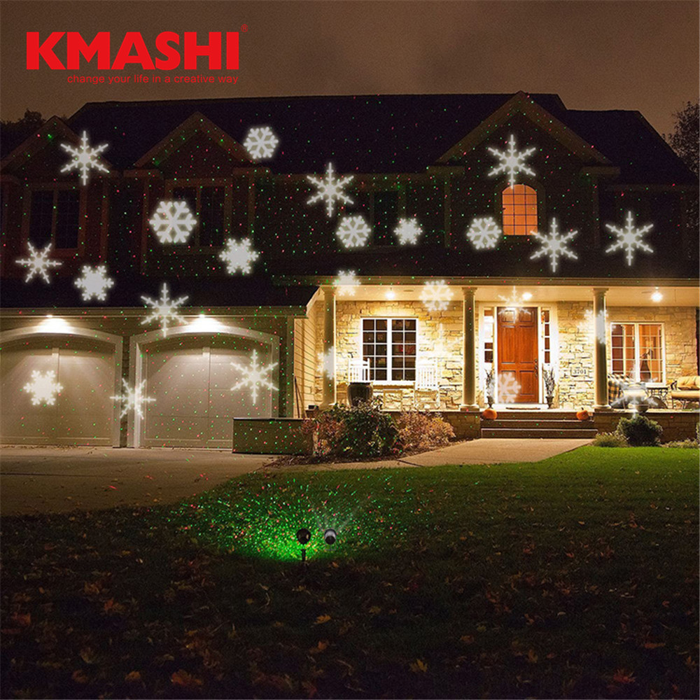 Kmashi led projector lights Christmas Snowflake Night Lights Xmas Outdoor Moving Snow Landscape Waterproof Projection Lighting