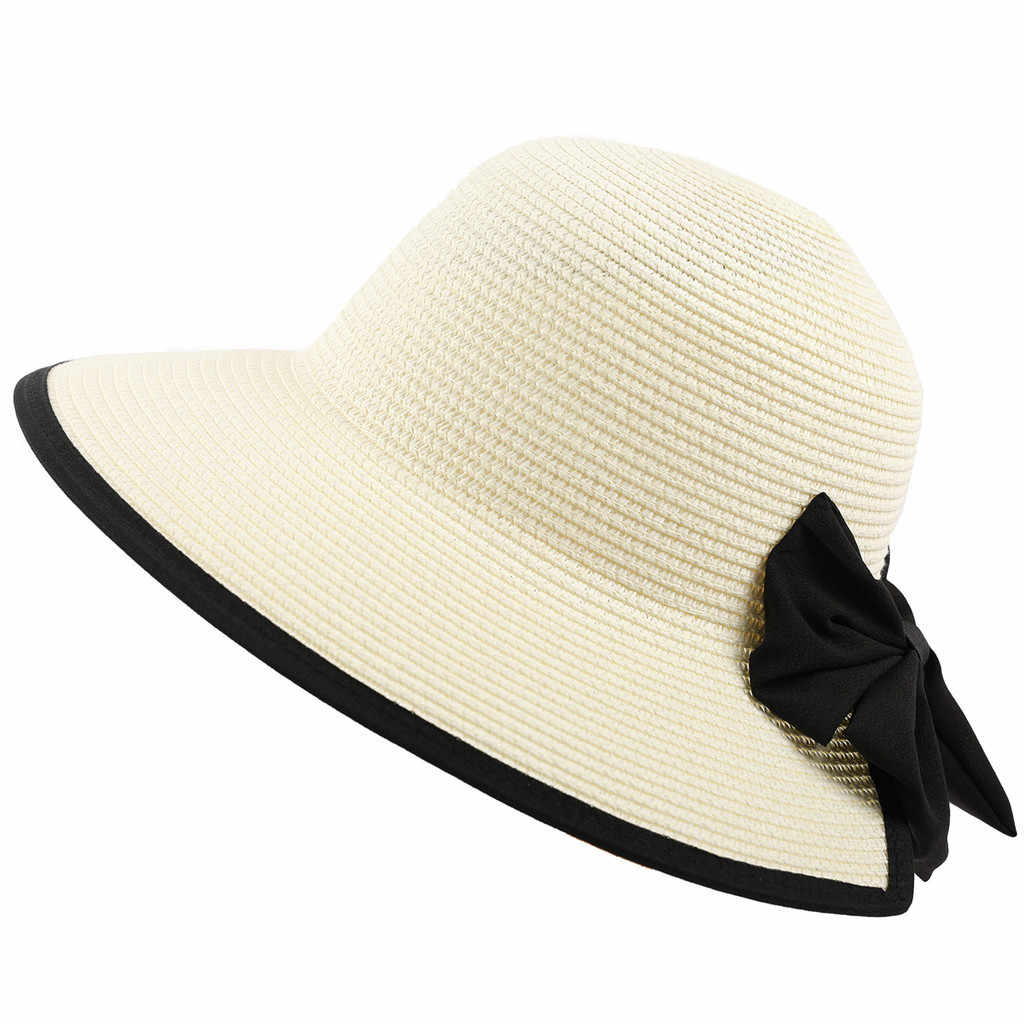 662a1746 Women's Lightweight Foldable/Packable Beach Sun Hat Decorative Bow Hat  Summer Basin Cap Foldable