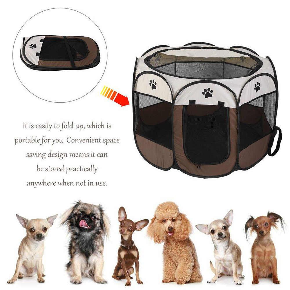 Portabel Lipat Pembawa Hewan Peliharaan Tenda Rumah Anjing Boks Multi-Berfungsi Kandang Anjing Mudah Operasi Octagon Pagar Breathable Kucing Tenda