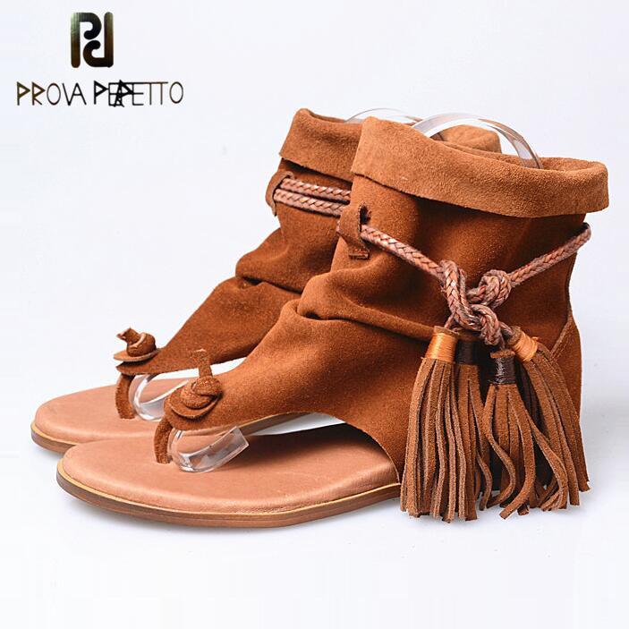 Prova Perfetto Bohemia Summer Boot Suede Leather Women Height Increased Sandal Tassel Cool Rome Gladiator Cross