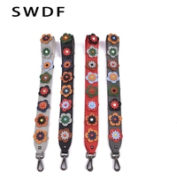 SWDF 2017 New PU Leather Women Handbags Bag Strap Chic You Rivet Bag Strap Flower And