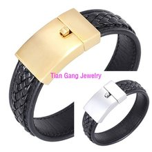 Fashion Jewelry Black Braided Leather Bracelet Men Gold/Silver Stainless Steel Bracelets Bangles De Couro Pulseiras Masculinos