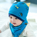 2 pcs / set  Newborn Baby Girl Boy Kids Bibs Hat Saliva Towel  Scarf  Cloths Set Cartoon Hat And Bibs