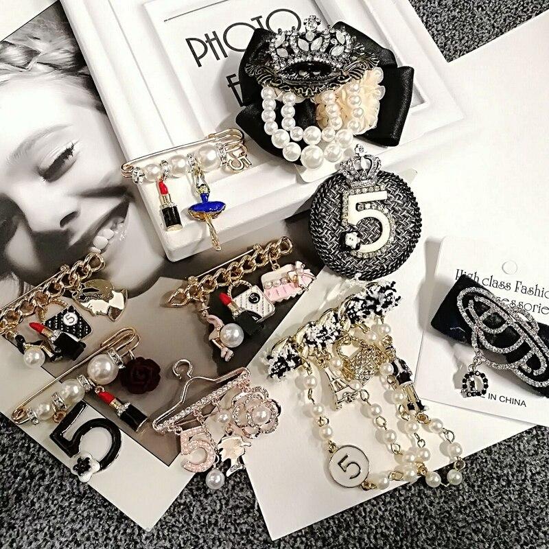 Camélia de luxe marque perle Broche bijoux fleurs épinglettes No 5 perles broches fleur Broche Broche Broche bijoux pour femmes