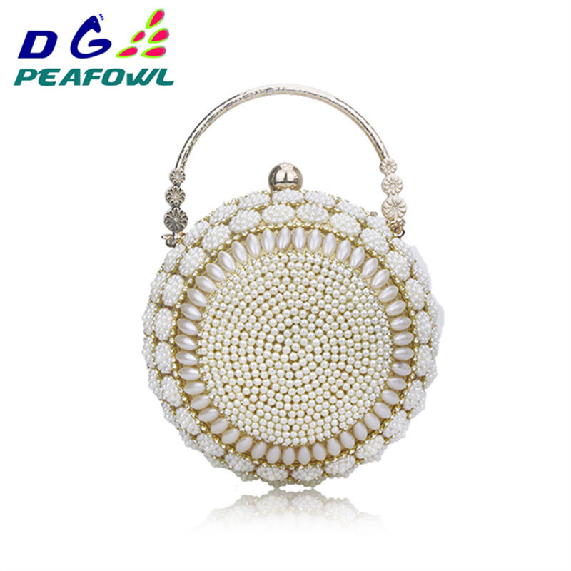 Women 39 s Pearl Beaded Evening Bags Pearl Beads Clutch Bags Handmade Wedding Bags Beige Cell Phone Silicone Toiletry Wallet in Top Handle Bags from Luggage amp Bags