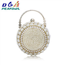 Women's Pearl Beaded Evening Bags Pearl Beads Clutch Bags Handmade Wedding Bags Beige Cell Phone Silicone Toiletry Wallet colorful metallic crystal striped women cell phone wallet silicone toiletry bangkok clutch bag dinner wedding dress evening bag
