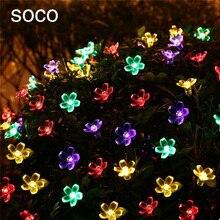 ФОТО soco solar 7m 50led string light transparent peach blossom garlands led lighting for home garden holiday party decorative lights