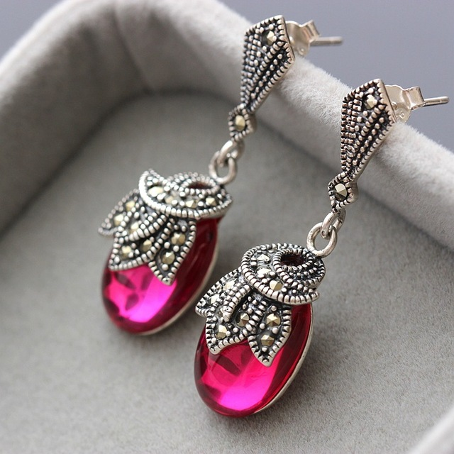 silver wholesale 925 Sterling Silver Earrings with red just Yutai Silver Earrings Vintage pure Tremella jewelry