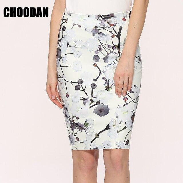 c6747972c3 Falda lápiz de alta cintura faldas 2018 nueva Otoño Invierno elegante  vintage floral impresión mujeres faldas