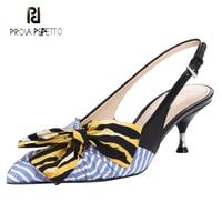 Prova Perfetto runway women pumps slingback pointed toe kitten heel sandals mixed color stripe bowtie lady dress wedding shoes