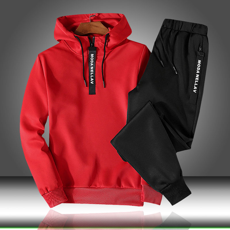 Patchwork Men's Sportswear Sets 2019 Autumn Winter Hooded Thick Male Casual Tracksuit Men 2 Piece Sweatshirt + Sweatpants Set
