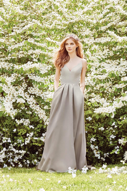 Elegant V-Neck Pleat Satin Long Evening Dress 1