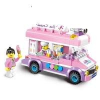 New city Ice cream truck Mobile ice cart fit legoings friends city Building Blocks Kids bircks Toys kids girl gift kid diy toy